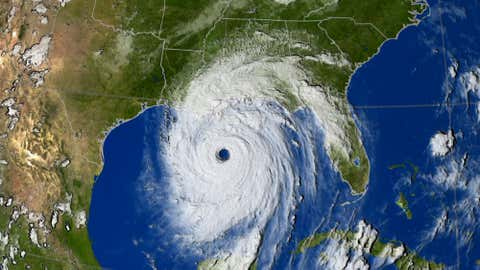 A Geostationary Operational Environmental Satellite (GOES) infrared satellite image of Hurricane Katrina on the night of Aug. 29, 2005.