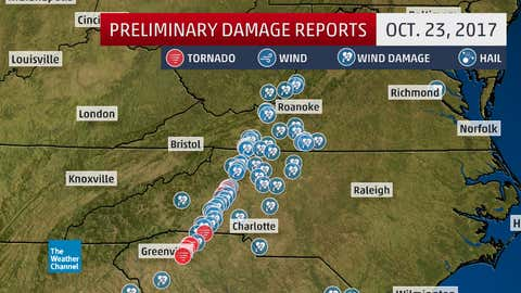 Preliminary storm reports on Oct. 23, 2017. (Note: Some reports shown as wind damage may eventually be classified as tornado damage, once NWS damage surveys are completed.)