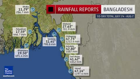 Rainfall totals in Bangladesh from Tropical Cyclone Komen and the associated monsoon depression from July 24 through August 2, 2015.