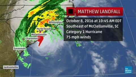 Satellite, radar, and statistics regarding Hurricane Matthew's landfall on October 8, 2016.