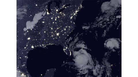 The image above shows an aerial view of power outages on the Atlantic coast during Hurricane Matthew at 3:14 a.m. local time on Oct. 6, 2016.