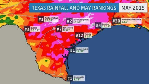 The rankings next to each city's rainfall totals indicates where May 2015 ranked among their record wettest Mays.