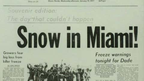 Front page of the Miami News on Jan. 19, 1977, the only snow on record in the city.