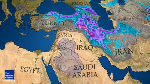 Middle East Cold Snow map for Dec. 9, 2015