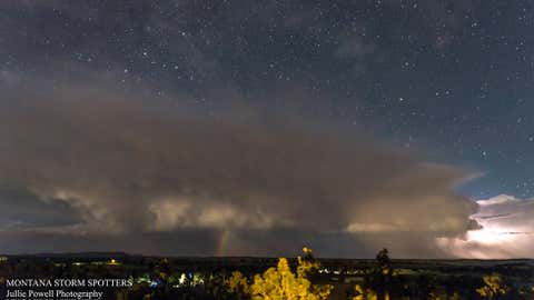 A moonbow is visible during a late-night thunderstorm in Shepherd, Montana, on July 9, 2016. (Jullie Powell Photography)