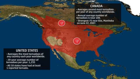 North America. (Source: Dr. Greg Forbes, The Weather Channel)