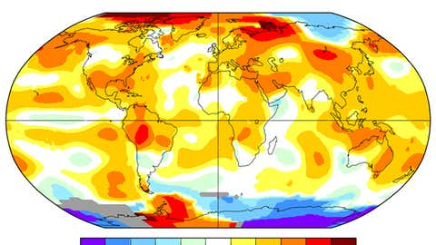 July 2016 temperature anomalies (degrees Celsius) relative to a 1981-2010 average period. (NASA-GISS)