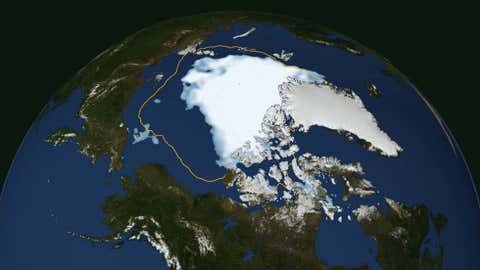 The extent of Arctic sea ice on Aug. 26, 2012, the day the sea ice dipped to its smallest extent ever recorded in more than three decades of satellite measurements, according to scientists from NASA and the National Snow and Ice Data Center. (NASA Goddard Space Flight Center)