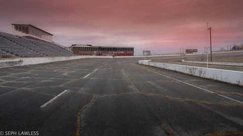 The North Wilkesboro Speedway in North Carolina was once host to numerous NASCAR races but it is now abandoned, crumbling in rust and decay. The North Wilkesboro Speedway opened in 1947 and closed in 2011. Its last NASCAR race was held in 1996, with Jeff Gordon winning. (Seph Lawless)
