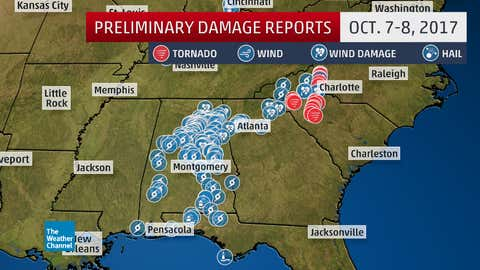Reports of tornadoes, damaging winds, flooding, and tree damage/power outages (indicated by tropical storm symbols) over a 24-hour period ending 6 a.m. EDT Oct. 9, 2017, from Nate.