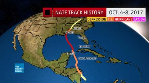 Hurricane Nate track history Oct. 4-8, 2017.