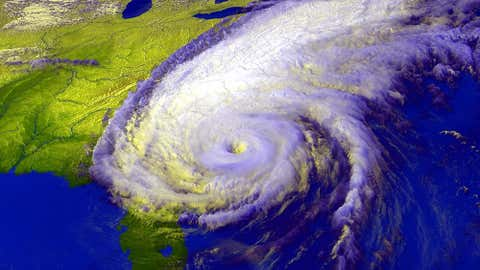 A satellite image from the afternoon of Sept. 15, 1999, showing Hurricane Floyd approaching North Carolina.