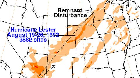 Rainfall associated with the remnants of Hurricane Lester in 1992.