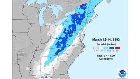 """NESIS snowfall map of the Mar. 12-14, 1993 """"superstorm."""""""