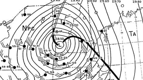 An archived surface weather map showing conditions at 6 p.m. on Sept. 21, 1938.