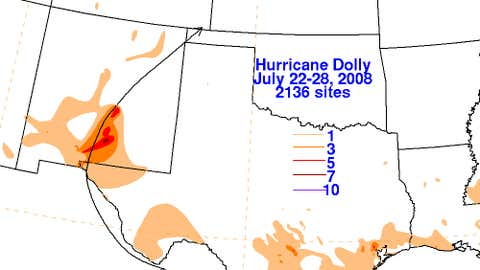 Total rainfall amounts associated with Hurricane Dolly.