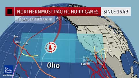 graphic showing the northernmost hurricanes in the central and eastern Pacific, dating back to 1949.