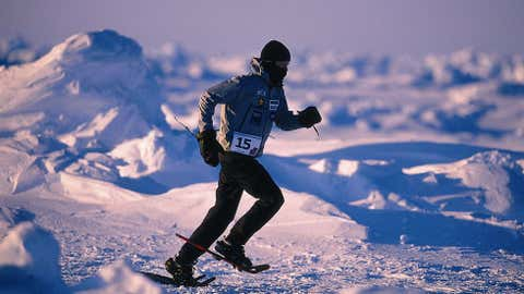 Sub-zero temperatures are just the start of the challenges that await runners at the early springtime North Pole Marathon, where the course is made up of ice floes that float on top of the dark, cold Arctic Ocean. (Courtesy Richard Donovan)