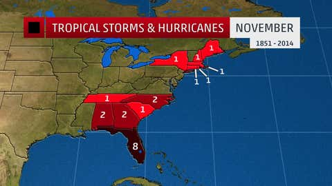 The number of tropical storm and hurricane impacts by state in the month of November.
