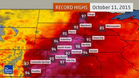 Selected daily record high temperatures set Sunday, Oct. 11, 2015.
