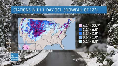 Average October snowfall (contours) and locations that have picked up 12 inches or more of snow on at least one October day (purple dots). (Map: Brian Brettschneider)