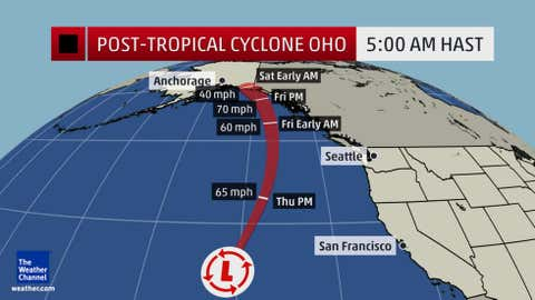Final forecast path for Post-Tropical Cyclone Oho, issued by the Central Pacific Hurricane Center at 5 a.m. HAST Thursday, Oct. 8, 2015.