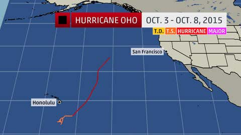 A look at the historical track of Hurricane Oho across the central Pacific.