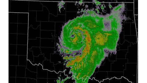 A radar image from the morning of Aug. 19, 2007, showing the remnants of Tropical Storm Erin over Oklahoma.