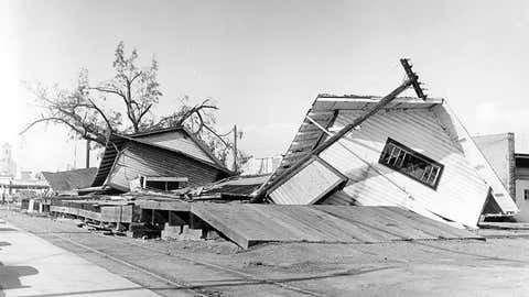 A photo from Newberg, Oregon showing damage from a wind storm in October of 1962.