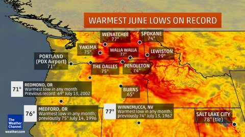 These locations tied or broke their all-time records for warmest low temperatures on any June day. (These are usually, though not necessarily, nighttime lows.) Most of the records were set June 29, 2015, but a few were set between June 25 and 28.