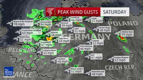 """Selected peak wind gusts reported across parts of Europe as a result of the low-pressure system """"Zeljko"""" on Saturday, July 25, 2015. Radar and satellite data shown are from approximately 5 p.m. Central European Summer Time on Saturday."""