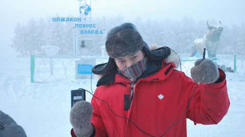 A temperature of -52 degrees Celsius (-61.6 degrees Fahrenheit) is measured in Oymyakon, Russia.  (Photo credit:  Bolot Bochkarev)