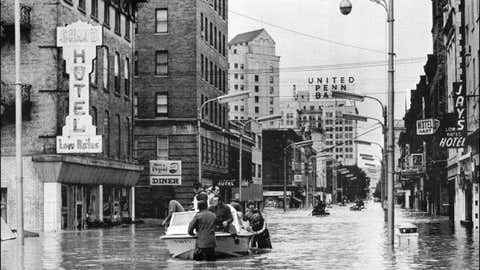 A photo showing Wilkes-Barre inundated by several feet of water from Hurricane Agnes.
