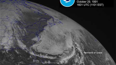 Visible satellite image of the Perfect Storm ingesting the remnant of what was once Hurricane Grace on October 29, 1991 at 11:01 a.m. ET. (NOAA)
