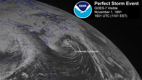 """Visible satellite image of the """"Unnamed Hurricane"""" capping off the """"Perfect Storm"""" off the New England coast on November 1, 1991, at 11:01 a.m. ET. (NOAA)"""