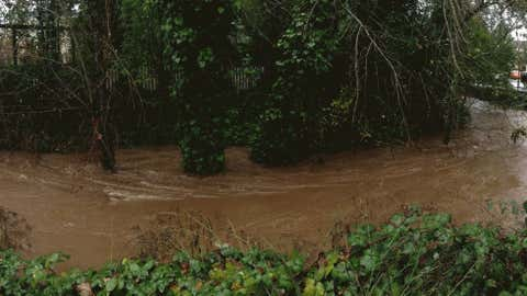This photo shows flooding in Sonoma on East Napa and 2nd Street. (Courtesy: Michael Lee)