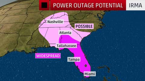 Power outage potential with Hurricane Irma (5am ET; Sep. 11, 2017)