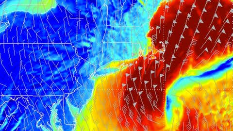 Forecast winds for 7 a.m. EST Jan. 27, 2015 from WSI's RPM model. Areas in darkest red shading indicate sustained winds of 50 knots (about 58 mph) possible.