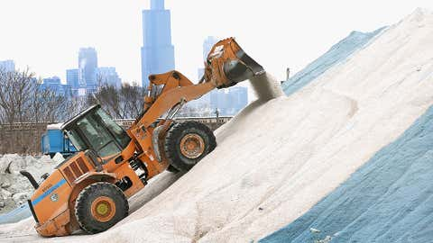 Cities like Chicago have enormous stockpiles of road salt to prepare for winter's worst. (Scott Olson/Getty Images)