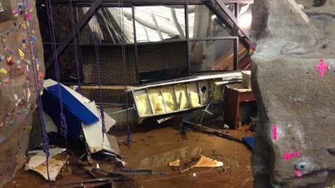 Flood damage to the Recreational Sports Center at Sam Houston State University in Huntsville, Texas, on April 16, 2015. (Sam Houston State University)