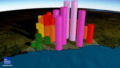 A graphical representation of rainfall in each county of South Carolina from Oct. 1-5, 2015. The height and color of the cylinders represents the accumulated rainfall during that period, generally for the county seat.