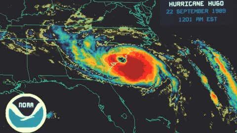 An infrared satellite image showing Hurricane Hugo making landfall in South Carolina.