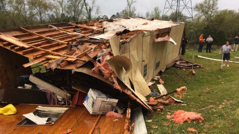 Damage is seen to a mobile home in Union County, South Carolina, after it was overturned, killing the person inside, Monday, April 3, 2017. (Union County Sheriff's Office)