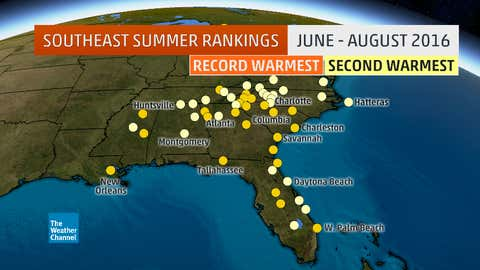 Locations with either their record hottest (orange dots) or second hottest (yellow dots) summer (June through August) on record in 2016. Locations with at least 60 years of data are shown. (Data: Southeast Regional Climate Center)
