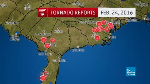 Preliminary tornado reports from Feb. 23 and the early morning hours of Feb. 24, 2016. (Note: several reports of the same tornado may be plotted on this map.)