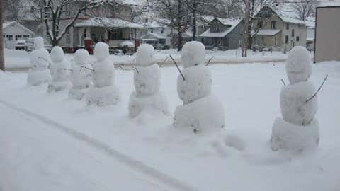 In the southeast corner of the state, the town of Woodsfield saw 22 inches of snow on February 17, 2003. Image: Snowmen line a street in Akron, Ohio. From iWitness Weather contributor JohnLovejoy.