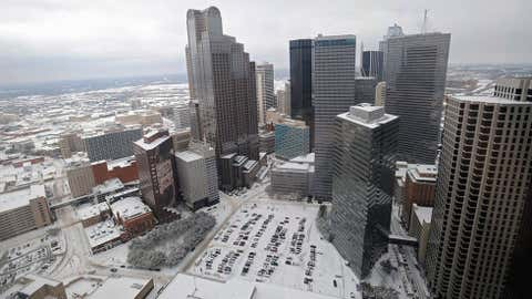 Located to the southwest of Dallas and northwest of Waco, the town of Clifton recorded two feet of snow on December 21, 1929. Image info: A snow-covered skyline is seen from the 37th floor of the Sheraton Dallas on February 4, 2011 in Dallas, Texas. Photo by Michael Heiman/Getty Images.