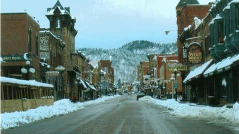 In the Black Hills of western South Dakota, Deadwood received 47 inches of snow on March 14, 1973. Image: Main Street in Deadwood from iWitness Weather contributor kristr_2.