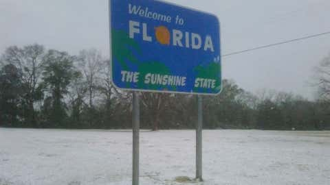 Milton, Florida, located just to the northeast of Pensacola, recorded 4 inches of snow on March 6, 1954. Image: Snow at the Alabama/Florida border on Feb. 12, 2010 from iWitness Weather contributor ismsan.