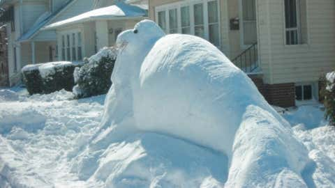 Two feet of snow fell in the west-central Illinois town of Coatsburg on February 28, 1900. Image: Walrus made out of snow in Naperville, Ill. from iWitness Weather contributor bneckrosh.